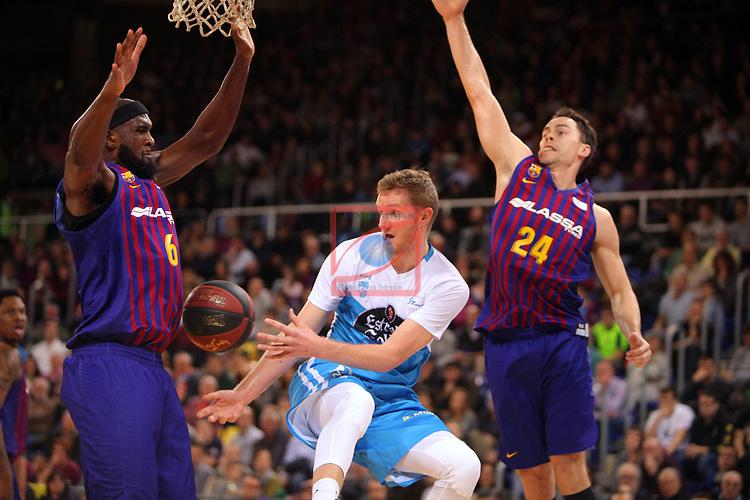 League ACB-ENDESA 2018/2019. Game: 14.<br /> FC Barcelona Lassa vs Monbus Obradoiro: 79-73.<br /> Chris Singleton, Ben Simons & Kyle Kuric.