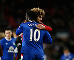 Romelu Lukaku of Everton and Marouane Fellaini of Manchester United hug at the end of the match during the English Premier League match at Old Trafford Stadium, Manchester. Picture date: April 4th 2017. Pic credit should read: Simon Bellis/Sportimage