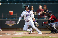 Nick Madrigal (3) of the Winston-Salem Dash follows through on his swing against the Carolina Mudcats at BB&T Ballpark on June 1, 2019 in Winston-Salem, North Carolina. The Mudcats defeated the Dash 6-3 in game one of a double header. (Brian Westerholt/Four Seam Images)