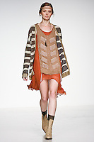 Model walks runway in an outfit from the Bohemian Travelers collection by MaRu Jung.  during the Pratt 2011 fashion show. This collection won the Alfredo Cabrera Sportswear Award.