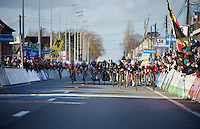 bunch sprint to the finish with Mark Cavendish (GBR/Ettix-QuickStep), Elia Viviani (ITA/Sky) &amp; Alexander Kristoff (NOR/Katusha) going for the win<br /> <br /> 67th Kuurne-Brussels-Kuurne 2015