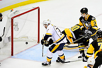May 29, 2017: Nashville Predators center Frederick Gaudreau (32) scores a game tying goal against Pittsburgh Penguins goalie Matt Murray (30) during game one of the National Hockey League Stanley Cup Finals between the Nashville Predators  and the Pittsburgh Penguins, held at PPG Paints Arena, in Pittsburgh, PA. Pittsburgh defeats Nashville 5-3 in regulation time.  Eric Canha/CSM
