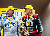 Jul 22, 2018; Morrison, CO, USA; NHRA top fuel driver Leah Pritchett celebrates alongside John Force after winning the Mile High Nationals at Bandimere Speedway. Mandatory Credit: Mark J. Rebilas-USA TODAY Sports