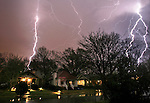 Lightning bolts fill the sky during a thunderstorm in Little Rock, Ark. Thursday, April 03, 2008.