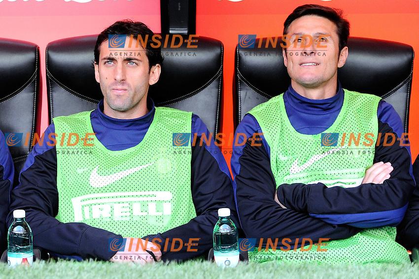 Diego Milito, Javier Zanetti Inter<br /> Milano 23-03-2014 Stadio Giuseppe Meazza - Football 2013/2014 Serie A. Inter - Atalanta Foto Giuseppe Celeste / Insidefoto