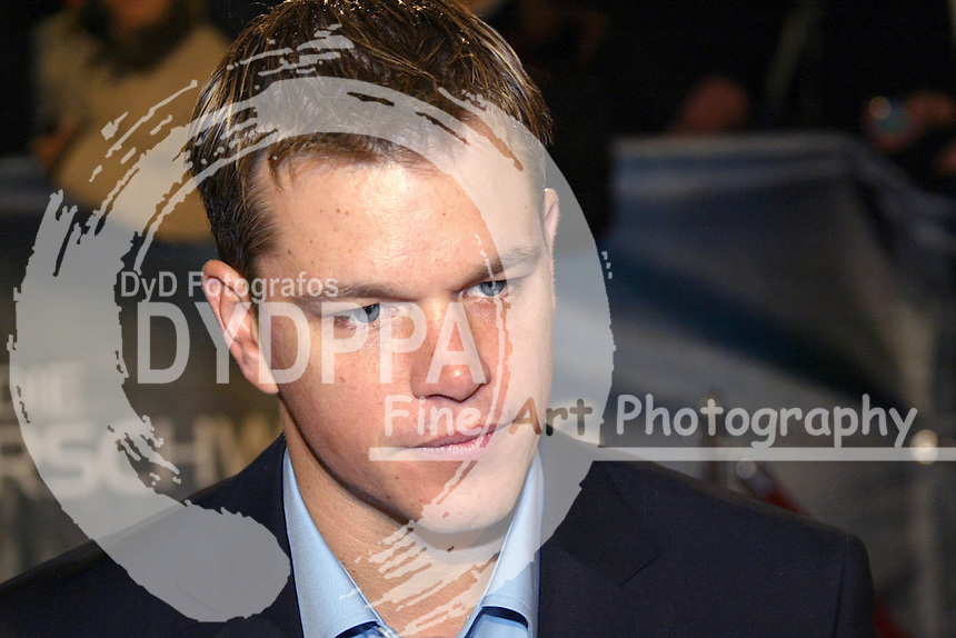 "Actor Matt Damon attends the Germany Premiere of ""Die Bourne Verschwörung / The Bourne Supremacy"" at CineStar am Potsdamer Platz, Berlin"