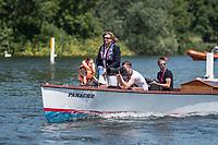 Henley. Berks, United Kingdom. <br /> <br /> Umpire, Jacomina RAVENSBERGEN, [NED] officiating at the  2017 Henley' Women's Regatta. Rowing on, Henley Reach. River Thames. <br /> <br /> Saturday  17/06/2017<br /> <br /> [Mandatory Credit Peter SPURRIER/Intersport Images]