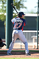 Cleveland Indians infielder Taylor Murphy (27) during an Instructional League game against the Seattle Mariners on October 1, 2014 at Goodyear Training Complex in Goodyear, Arizona.  (Mike Janes/Four Seam Images)