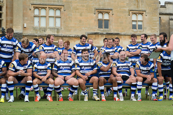 Bath Rugby players have a laugh during the squad photocall. Bath Rugby Media Day on August 28, 2014 at Farleigh House in Bath, England. Photo by: Patrick Khachfe / Onside Images