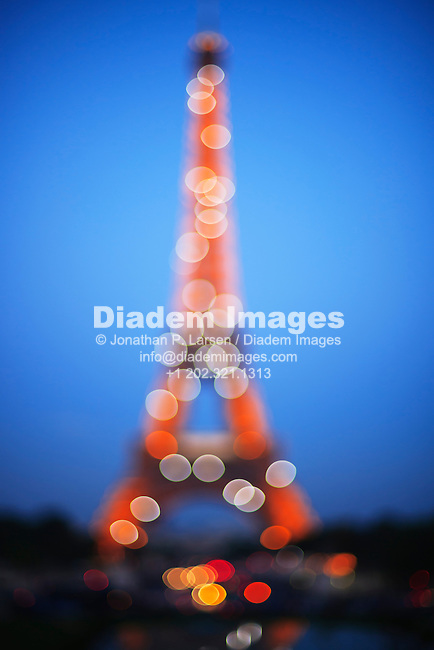 Abstract view of the Eiffel tower at night.
