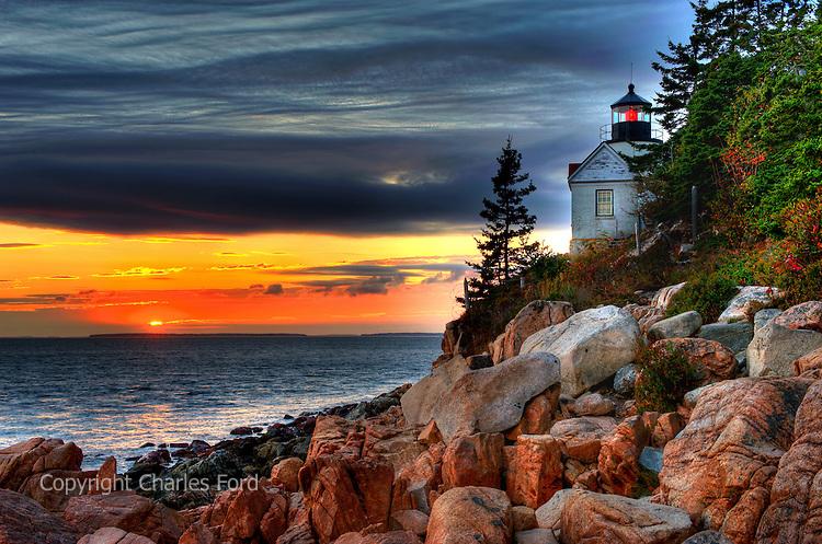 Sunset high dynamic range (HDR) image of the Bass Harbor lighthouse, Mount Desert Island, Maine.