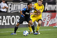 Scott Sealy (left) battles against Chad Marshall (right). The San Jose Earthquakes tied the Columbus Crew 2-2 at Buck Shaw Stadium in Santa Clara, California on June 2nd, 2010.