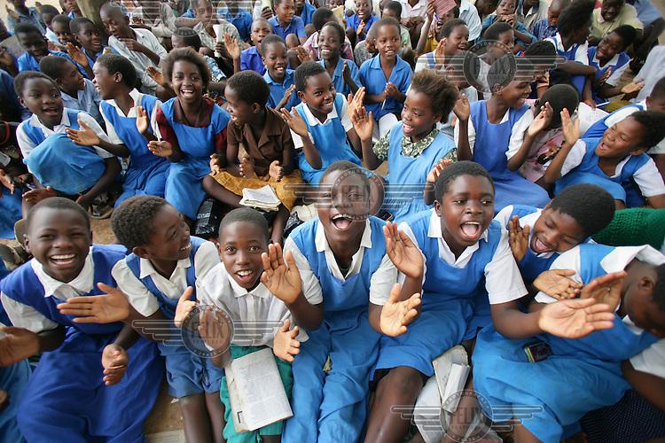 Children singing songs at school.
