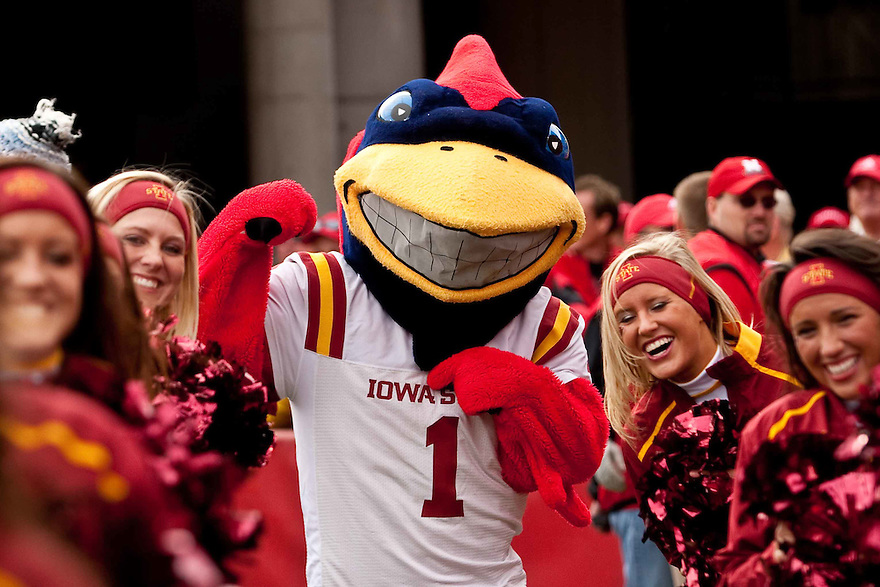 24 October 2009: Iowa State mascot Cy and the cheerleaders fired up for the game against Nebraska at Memorial Stadium, Lincoln, Nebraska. Iowa State defeats Nebraska 9 to 7.