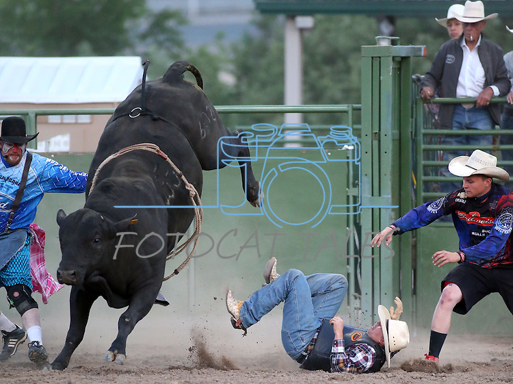 Glenn Roseberg competes in the bull riding event at the Smackdown Tour at Fuji Park in Carson City, Nev., on Saturday, June 7, 2014.<br /> Photo by Cathleen Allison