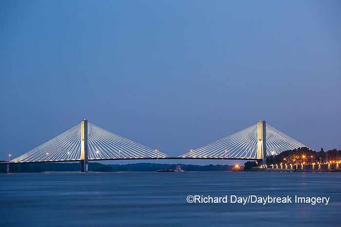 65095-02514 Barge on Mississippi River and Bill Emerson Memorial Bridge at dusk Cape Girardeau, MO