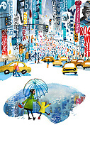 Girl splashing in puddle in Times Square, New York City ExclusiveImage