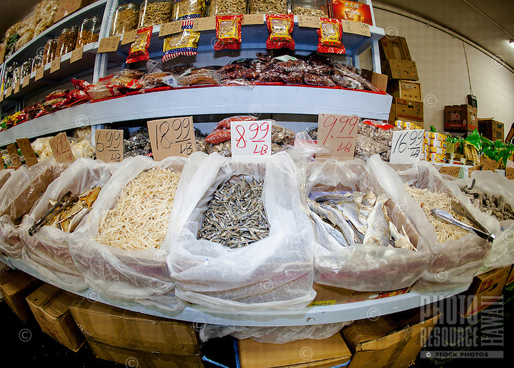 Dried fish for sale in a Chinatown market in Honolulu, O'ahu