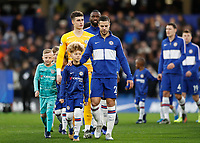 11th January 2020; Stamford Bridge, London, England; English Premier League Football, Chelsea versus Burnley; Cesar Azpilicueta of Chelsea leading out his team mates - Strictly Editorial Use Only. No use with unauthorized audio, video, data, fixture lists, club/league logos or 'live' services. Online in-match use limited to 120 images, no video emulation. No use in betting, games or single club/league/player publications