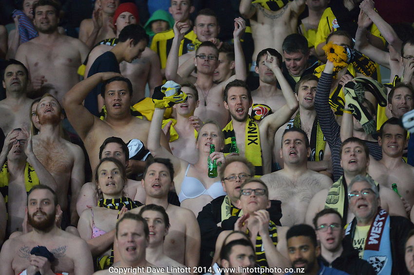 Phoenix fans chant during the Football United Tour match between Wellington Phoenix and West Ham United at Eden Park, Auckland, New Zealand on Wednesday, 23 July 2014. Photo: Dave Lintott / lintottphoto.co.nz
