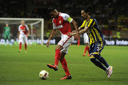 03.08.2016. Monaco, France. UEFA Champions league qualifying round, AS Monaco versus Fenerbahce.  Nabil Dirar (mon) shields the ball from asan Ali Kaldırım (Fen)