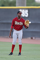 Touki Toussaint #23 of the AZL Diamondbacks warms up before pitching against the AZL Padres at the Peoria Sports Complex on July 7, 2014 in Peoria, Arizona. (Larry Goren/Four Seam Images)