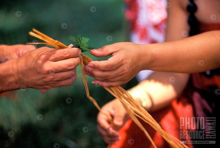 Haku lei making with rafia and ferns