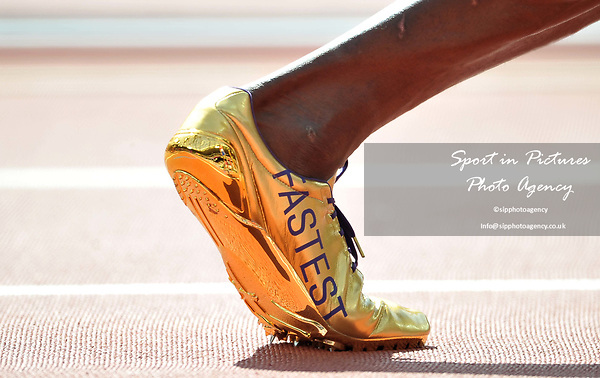 Usain Bolt (JAM) running shoes spikes in the mens 4 x 100m relay. IAAF world athletics championships. London Olympic stadium. Queen Elizabeth Olympic park. Stratford. London. UK. 12/08/2017. ~ MANDATORY CREDIT Garry Bowden/SIPPA - NO UNAUTHORISED USE - +44 7837 394578