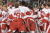 BU's huddle breaks up - The Boston University Terriers defeated the Boston College Eagles 2-1 in overtime in the March 18, 2006 Hockey East Final at the TD Banknorth Garden in Boston, MA.