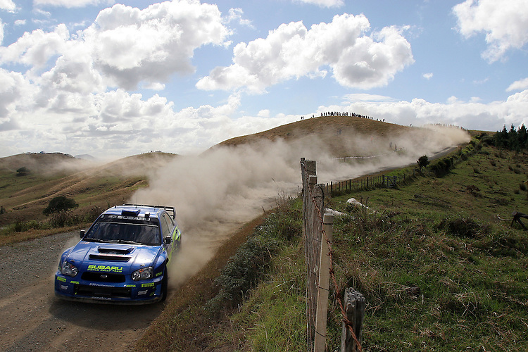2002 World Rally Champion Petter Solberg on Special Stage 12 of the NZ WRC 05.  He won the stage by 1.2secs but it wasn't enough to lift him from third place going into day 2's evening Super Special Stages. 09Apr05 © james madelin 2005 / +44 7513 057500 / james@jamesmadelin.com