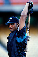 Derrek Lee of the Florida Marlins participates in a Major League Baseball game at Dodger Stadium during the 1998 season in Los Angeles, California. (Larry Goren/Four Seam Images)