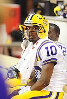 Sept. 5, 2009; Seattle, WA, USA; LSU Tigers quarterback (10) Russell Shepard against the Washington Huskies at Husky Stadium. LSU defeated Washington 31-23. Mandatory Credit: Mark J. Rebilas-