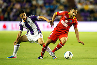 Real Valladolid´s Omar (l) and Getafe's Mehdi Lacen (r) during La Liga match.August 31,2013. (ALTERPHOTOS/Victor Blanco)