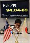 February 25, 2013, Tokyo, Japan - Japanese yen drops to the mid-94 yen range against the U.S. dollaron the Tokyo foreign exchange market over the news a reflationary advocate Haruhiko Kuroda could head the Bank of Japan in April.  (Photo by Natsuki Sakai/AFLO)
