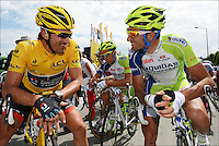 Fabian Cancellara (Swi) of RadioShack Nissan Team - Ivan Basso (Ita) of Liquigas Cannondale Team  .Rouen / St Quentin.5/7/2012.Tour de France - Vise / Tournai.Foto Insideofoto / Kalut - De Voecht / Photo News / Panoramic.ITALY ONLY