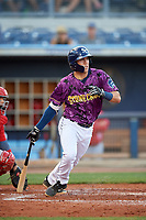 Charlotte Stone Crabs second baseman Tristan Gray (9) grounds out during a game against the Palm Beach Cardinals on April 21, 2018 at Charlotte Sports Park in Port Charlotte, Florida.  Charlotte defeated Palm Beach 5-2.  (Mike Janes/Four Seam Images)