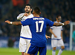 Diego Costa of Chelsea accuses Danny Simpson of Leicester City- English Premier League - Leicester City vs Chelsea - King Power Stadium - Leicester - England - 14th December 2015 - Picture Simon Bellis/Sportimage