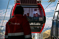 BOGOTA - COLOMBIA, 27-12-2018: Inauguracion del metrocable en la localidad de Ciudad Bolivar, al sur de la capital, que mejorara la movidad en este sector./Inauguration of the cable car in the Ciudad Bolivar location, at the south of the capital, that will improve the molvilty in this sector . Photo: VizzorImage / Nicolas Aleman / Cont