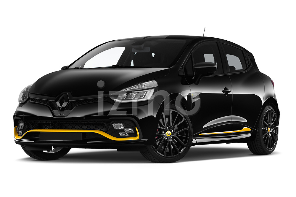 Stock pictures of low aggressive front three quarter view of a 2018 Renault Clio RS Final Edition 5 Door Hatchback