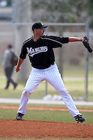 March 20, 2010:  Pitcher Matt Peterson of the Florida Marlins organization during Spring Training at the Roger Dean Stadium Complex in Jupiter, FL.  Photo By Mike Janes/Four Seam Images