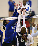 Marymount's Morgan McAlpin blocks during a college volleyball match against PSU Harrisburg at Marymount University in Arlington, Vir., on Wednesday, Oct. 9, 2013.<br /> Photo by Cathleen Allison