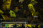 10.11.2018, Signal Iduna Park, Dortmund, GER, 1.FBL, Borussia Dortmund vs FC Bayern M&uuml;nchen, DFL REGULATIONS PROHIBIT ANY USE OF PHOTOGRAPHS AS IMAGE SEQUENCES AND/OR QUASI-VIDEO<br /> <br /> im Bild | picture shows:<br /> die Mannschaft des BVB l&auml;sst sich vor der Gelben Wand | Suedtribuene feiern, <br /> <br /> Foto &copy; nordphoto / Rauch