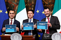 Luigi Di Maio, Giuseppe Conte and Matteo Salvini showing the press the dossier of reforms<br /> Rome January 17th 2019. Press conference of  the Italian premier and of the two vice premiers just after the Minister cabinet approved the reform of job (citizenship income) and board.<br /> Foto Samantha Zucchi Insidefoto