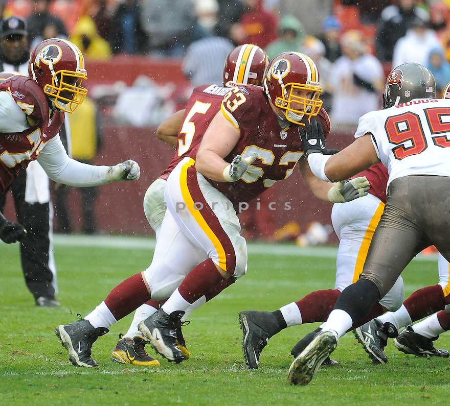 WILL MONTGOMERY, of the Washington Redskins in action durIng the Redskins game against the Tampa Bay Buccaneers at FedEx Field in Landover, MD on December 12, 2010...Bucs beat the Redskins 17-16