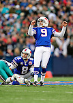 29 November 2009: Buffalo Bills place kicker Rian Lindell hits a 56 yard field goal in the 4th quarter to take the lead against the Miami Dolphins at Ralph Wilson Stadium in Orchard Park, New York. The Bills defeated the Dolphins 31-14. Mandatory Credit: Ed Wolfstein Photo