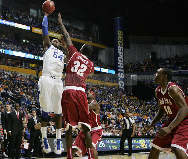 Junior forward Patrick Patterson takes a shot during the first half of the UK mens basketball team's 73-67 win over Alabama in the quarterfinals of the SEC tournament at the Sommet Center Friday, March 12, 2010. Photo by Britney McIntosh | Staff