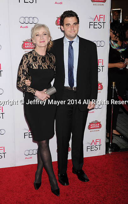HOLLYWOOD, CA - NOVEMBER 11: Actress Caroline Lagerfelt (L) and Michael Lagerfelt attend the 'The Homesman' premiere during AFI FEST 2014 presented by Audi at the Dolby Theater on November 11, 2014 in Hollywood, California.