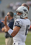 Nevada quarterback Tyler Stewart warms up before an NCAA college football game against Arizona in Reno, Nev., on Saturday, Sept. 12, 2015.(AP Photo/Cathleen Allison)