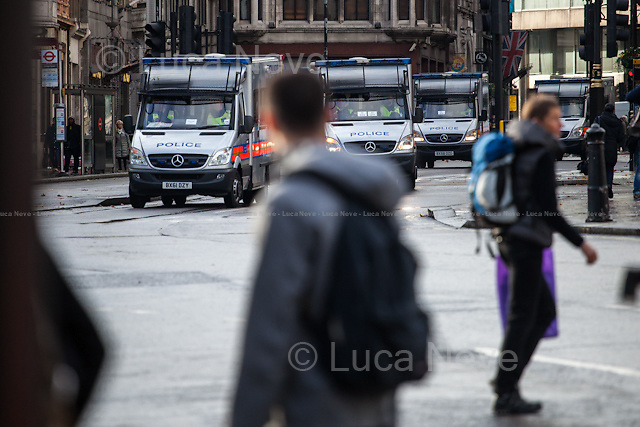 London, 04/11/2015. Thousands of students marched in central London protesting against the British Government plans to cut grants for university students. The demonstration was patrolled by a heavy police present and clashes happened outside the Department of Business, Innovation and Skills (BIS). From the organisers Facebook page: &lt;&lt;From scrapping Maintenance Grants, planning to raise tuition fees, slashing support for disabled students and making brutal funding cuts to Adult &amp; Further Education; to keeping thousands of people locked up in detention centres and deporting international students to their deaths: the Conservative Government is attacking us from all sides, and it's time to fight back. We don't just want a return to small grants that are barely enough to pay rent; we want living grants for all, so that no student has to live in poverty, and a system of support which means there are no barriers to the education system.[&hellip;]&gt;&gt;.<br /> <br /> For more information please click here: http://on.fb.me/1IlifCZ