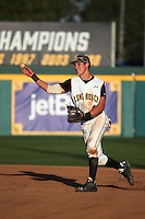 Jarren Duran (4) of the Long Beach State Dirtbags makes a throw during a game against the Arizona State Sun Devils at Blair Field on February 27, 2016 in Long Beach, California. Long Beach State defeated Arizona State, 5-2. (Larry Goren/Four Seam Images)